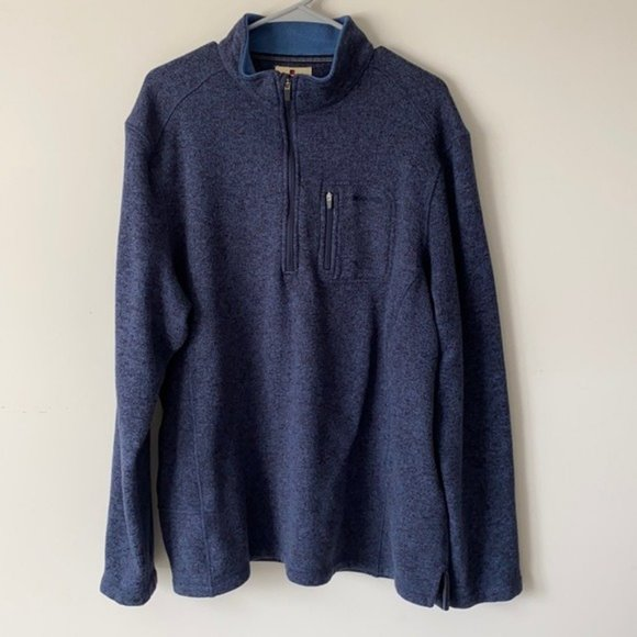Woolrich Heathered Blue 1/4 Zip Sweater Fleece XXL